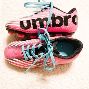 🍁UMBRO Pink and Blue Kids Soccer Cleats-8K